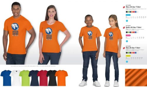 Orange round neck printed t-shirt